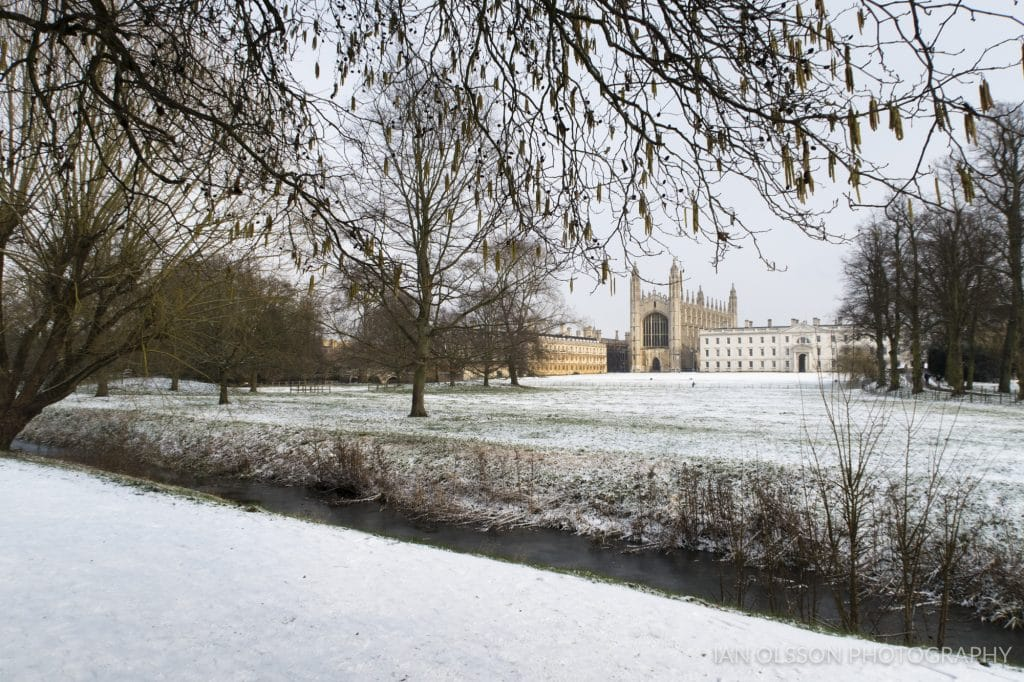 King's College Cambridge in the Snow taken from the Backs