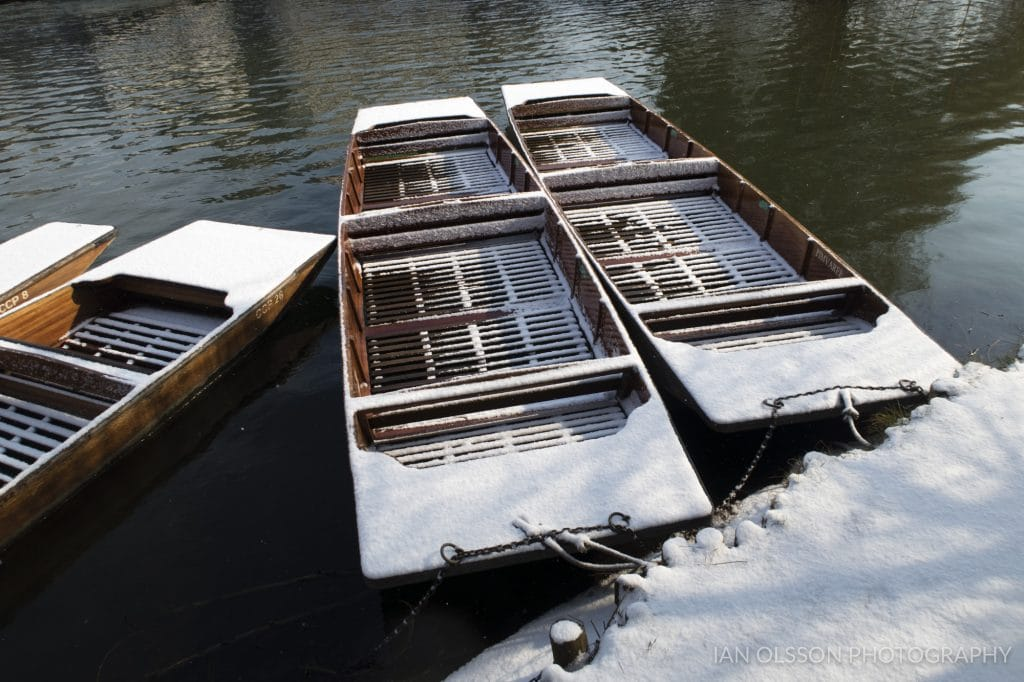 Snowy Punts in Cambridge