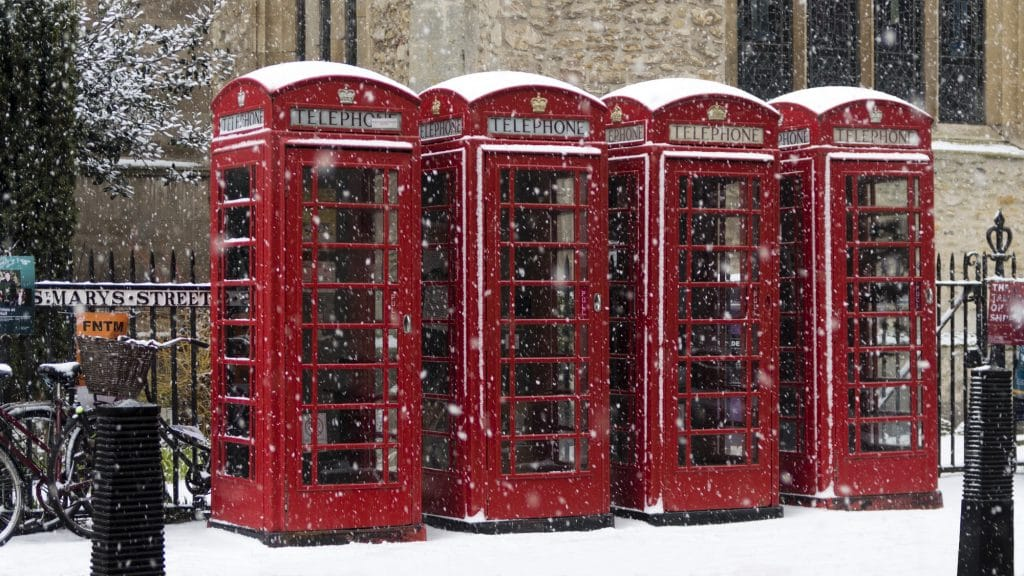 Phone Boxes in the Snow on St Mary's Street Cambridge