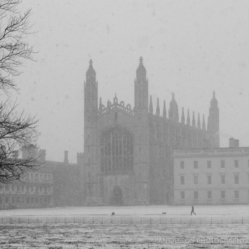 Black and White King's College Cambridge in the Snow taken from the Backs